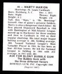 1948 Bowman REPRINT #40  Marty Marion  Back Thumbnail