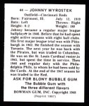 1948 Bowman REPRINT #44  Johnny Wyrostek  Back Thumbnail