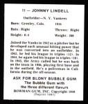 1948 Bowman REPRINT #11  Johnny Lindell  Back Thumbnail