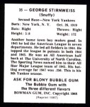 1948 Bowman REPRINT #35  Snuffy Stirnweiss  Back Thumbnail