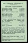 1922 E120 American Caramel Reprint #211  Babe Adams  Back Thumbnail
