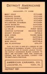 1922 E120 American Caramel Reprint #60  Lawrence Woodall  Back Thumbnail