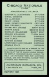 1922 E120 American Caramel Reprint #161  Johnny Kelleher  Back Thumbnail