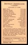 1922 E120 American Caramel Reprint #46  John Bassler  Back Thumbnail