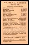 1922 E120 American Caramel Reprint #87  Cy Perkins  Back Thumbnail