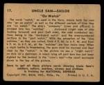 1941 Gum Inc Uncle Sam #17   On Watch Back Thumbnail