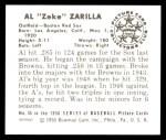 1950 Bowman REPRINT #45  Al Zarilla  Back Thumbnail