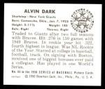 1950 Bowman REPRINT #64  Al Dark  Back Thumbnail