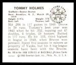 1950 Bowman REPRINT #110  Tommy Holmes  Back Thumbnail