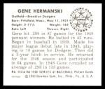 1950 Bowman REPRINT #113  Gene Hermanski  Back Thumbnail