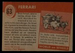 1954 Topps World on Wheels #63   Ferrari Back Thumbnail