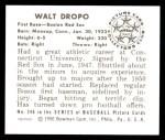 1950 Bowman REPRINT #246  Walt Dropo  Back Thumbnail