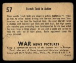 1939 Gum Inc. War News Pictures #57   French Tank In Action Back Thumbnail