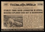 1954 Topps Scoop #102 xCOA  Stanley Finds Livingston Back Thumbnail