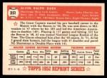 1952 Topps REPRINT #351  Alvin Dark  Back Thumbnail