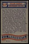 1956 Topps U.S. Presidents #27  William Mckinley  Back Thumbnail