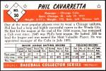 1953 Bowman REPRINT #30  Phil Cavarretta  Back Thumbnail