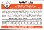 1953 Bowman REPRINT #61  George Kell  Back Thumbnail