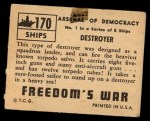 1950 Topps Freedoms War #170   Destroyer  Back Thumbnail