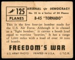 1950 Topps Freedoms War #125   B-45 Tornado Back Thumbnail