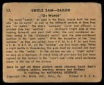 1941 Gum Inc Uncle Sam #17   On Watch Back Thumbnail