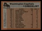 1975 Topps #98   Capitals Team Checklist Back Thumbnail