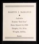 1933 Tattoo Orbit Reprint #47  Marty McManus  Back Thumbnail