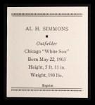 1933 Tattoo Orbit Reprint #53  Al Simmons  Back Thumbnail