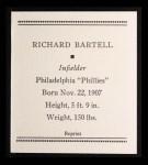 1933 Tattoo Orbit Reprint #4  Dick Bartell  Back Thumbnail