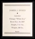 1933 Tattoo Orbit Reprint #16  Jimmy Dykes  Back Thumbnail