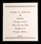 1933 Tattoo Orbit Reprint #39  Mark Koenig  Back Thumbnail