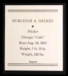 1933 Tattoo Orbit Reprint #21  Burleigh Grimes  Back Thumbnail