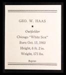 1933 Tattoo Orbit Reprint #25  George Haas  Back Thumbnail