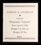 1933 Tattoo Orbit Reprint #12  Mickey Cochrane  Back Thumbnail