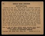 1941 Gum Inc Uncle Sam #77   Anti-Tank Team Back Thumbnail