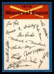 1973 O-Pee-Chee Blue Team Checklist #15   Expos Team Checklist Front Thumbnail