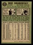 1967 O-Pee-Chee #125  Moe Drabowsky  Back Thumbnail