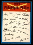 1973 O-Pee-Chee Blue Team Checklist #19   Phillies Team Checklist Front Thumbnail