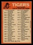 1973 O-Pee-Chee Blue Team Checklist #9   Tigers Team Checklist Back Thumbnail