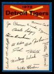 1973 O-Pee-Chee Blue Team Checklist #9   Tigers Team Checklist Front Thumbnail