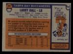1976 Topps #297  Larry Ball   Back Thumbnail