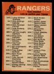 1973 O-Pee-Chee Blue Team Checklist #24   Rangers Team Checklist Back Thumbnail
