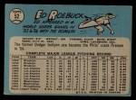 1965 O-Pee-Chee #52  Ed Roebuck  Back Thumbnail