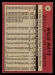 1969 O-Pee-Chee #190  Willie Mays  Back Thumbnail