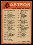 1973 O-Pee-Chee Blue Team Checklist #10   -     Astros Team Checklist Back Thumbnail