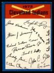 1973 O-Pee-Chee Blue Team Checklist #8   Indians Team Checklist Front Thumbnail