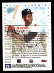 2000 Topps #237 B  -  Hank Aaron 1957 MVP - Magic Moments Back Thumbnail
