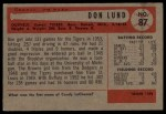 1954 Bowman #87  Don Lund  Back Thumbnail