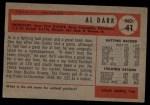1954 Bowman #41 ALL Al Dark  Back Thumbnail