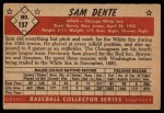 1953 Bowman #137  Sam Dente  Back Thumbnail